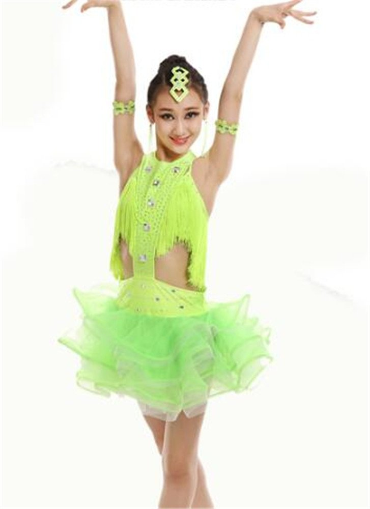 Vert peiwen Robe Latine de Danse de Fille Enfants Latine effectuer Costume Shining Dance Show 130cm