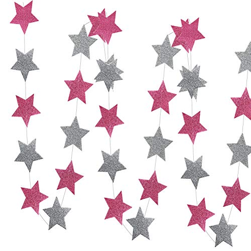 Pink Silver Party Decorations Glitter Pink Silver Star Garlands of 2pcs for Pink Bridal Shower Decorations/Pink Grey Elephant Baby Shower Decorations
