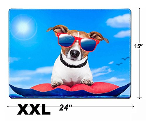 Price comparison product image Liili Extra Large Mouse Pad XXL Extended Non-Slip Rubber Gaming Mousepad 24x15 Inch,  3mm thick Stitched Edge Desk Mat dog on a mattress on the ocean IMAGE ID 13811331