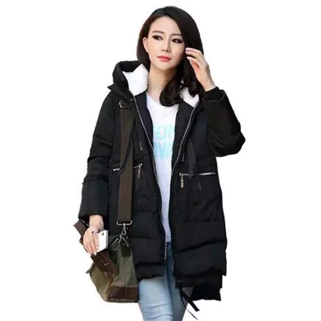 Black COSYOU Women Oversized Winter Puffer Coat Thickened Warm Jacket