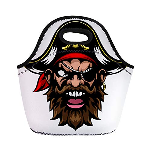 Semtomn Neoprene Lunch Tote Bag Face Cartoon Mean Tough Looking Pirate Sports Mascot Character Reusable Cooler Bags Insulated Thermal Picnic Handbag for Travel,School,Outdoors,Work -