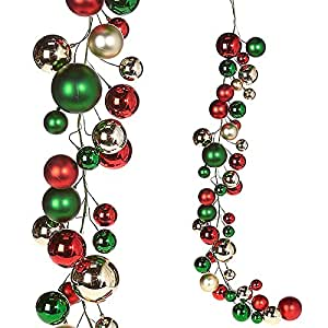 Christmas Ball Garlands.Amazon Com Raz Imports Raz 4 Red Green And Silver Ball