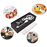 New Soft Boiled Egg Cutter Japanese Stainless Steel Egg Cracker Topper Cutter Include 1 Egg topper and 1 Egg Cups 2 Egg Spoons & 1 Egg Separator for Kitchen Egg Cooker (silver)