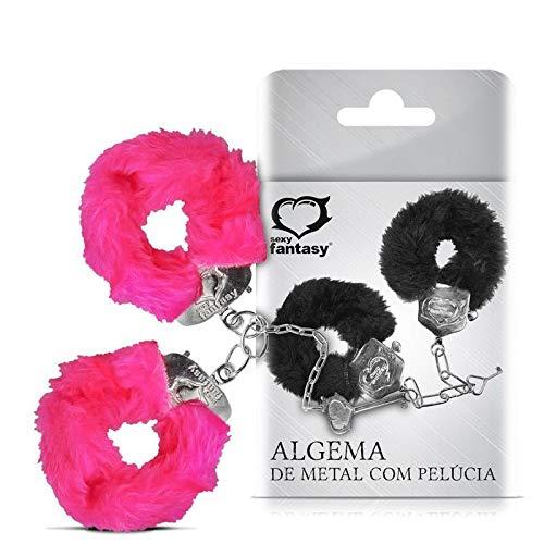 Algema em metal com pelucia rosa, Sexy Fantasy, Rosa