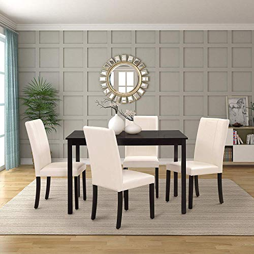 Harper&Bright Designs Dining Table Set Kitchen Dining Table Set Wooden Table and 4 PU Leather Chairs for 4 Person (White) (Four Dining Table Designs Chair)