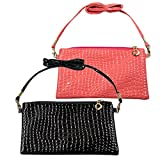 Nicole Bouvier Cross Body Handbag Set of 2 Fancy Black & Pink 2018 Limited Summer Edition for Ladies
