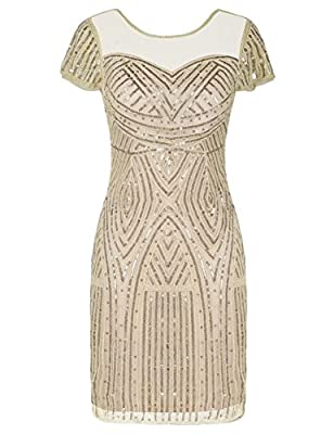 Kayamiya Women's Flapper Dresses Inspired Sequins Cocktail Great Gatsby Dress