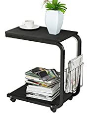 soges Table Roulante de Lit Canapé pour Lecture 51 x 30 x 56 cm Petite Café Table