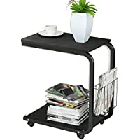 Soges Side Table Moving Unite Laptop Desk Small Computer Table with Caster, Black KH02-BK