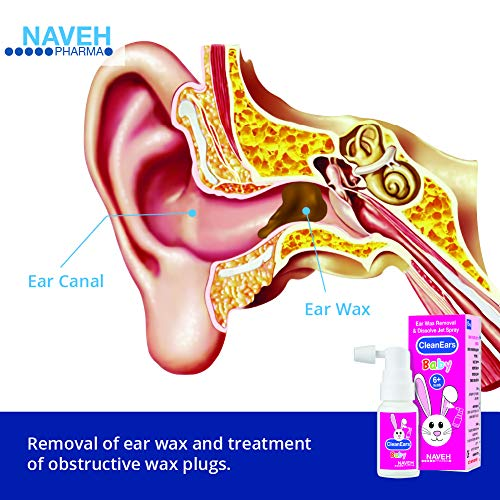 Naveh Pharma CleanEars Earwax Removal Spray Ear Wax Softener Baby Ear Cleaner Irrigation and Wax Dissolution – All Natural Patented Formula – Nonirritant – for Kids and Adults (15 ML)