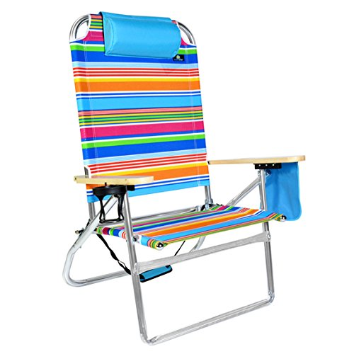 Extra Large   High Seat Heavy Duty 3 Position Beach Chair W/ Drink Holder