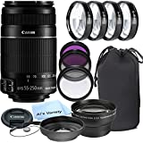 Canon EF-S 55-250mm f/4.0-5.6 IS II Telephoto Zoom Lens for Canon SLR Cameras + 3pc Filter Kit + 4pc Macro Kit + 2.2x Telephoto Lens + Lens Hood + 14pc Bundle – International Version