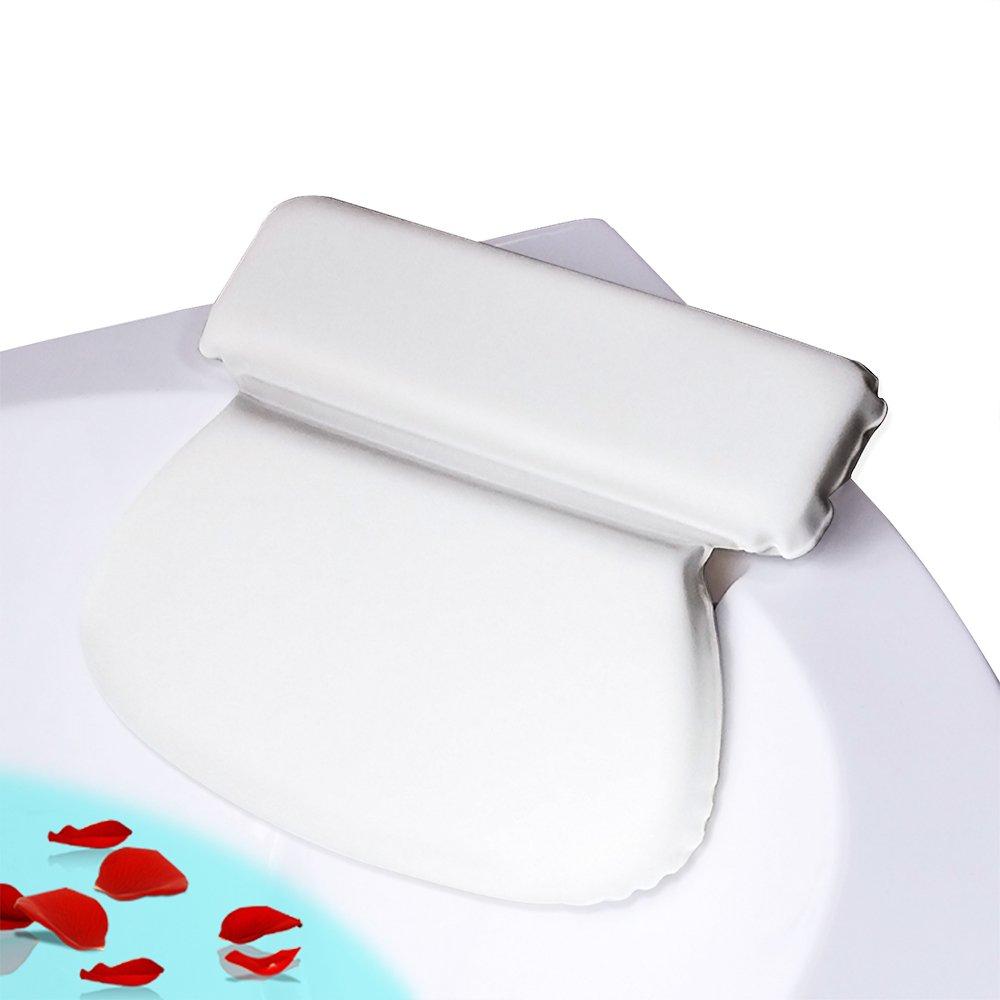 COCOCITY Badewannenkissen - weiches Badekissen (36cm x 31cm x 4cm) mit 7 Starke Saugnä pfen - Optimales Nackenkissen / Komfort Kopfkissen fü r Mä nner und Frauen SPA (Weiß )