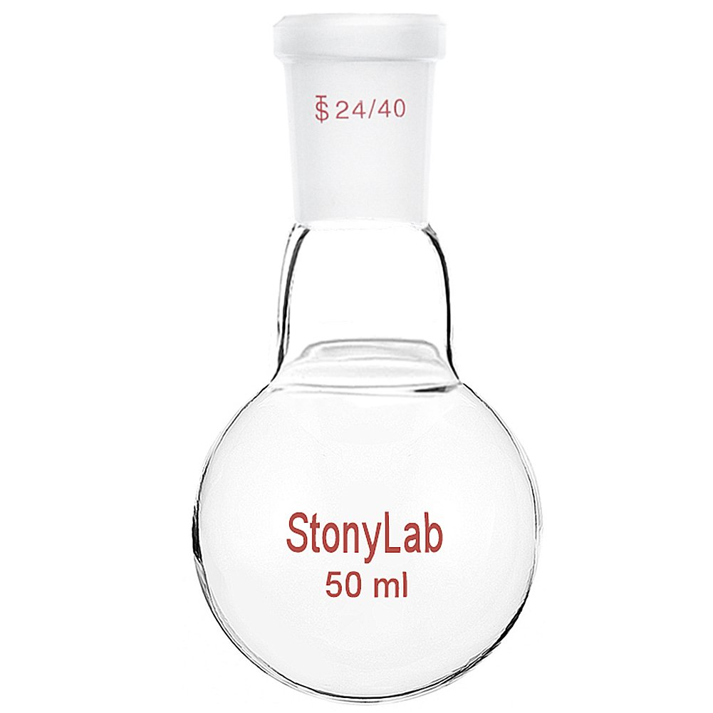 StonyLab 100ml Glass Single Neck Round Bottom Flask RBF, with 24/40 Standard Taper Outer Joint StonyLab Scientific