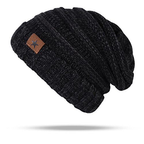 Warm Oversized Soft Beanie Cap Winter Cable Knit Thick Slouchy Beanie Skully Hats for Women Men (Black)