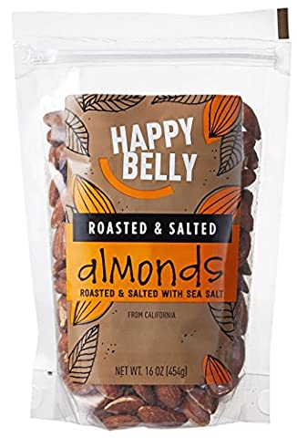 Happy Belly Roasted & Salted California Almonds, 16 Ounce - Buttery Almond