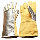 High Visibility Welding Gloves With Reflective Strip Heat and Fire Resistant Reflective Aluminum Cowhide Safety Gloves 14'' XL with Kevlar Stitching (Silver)