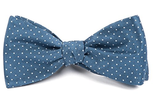 The Tie Bar 100% Woven Silk Mini Dots Slate Blue Self-Tie Bow Tie