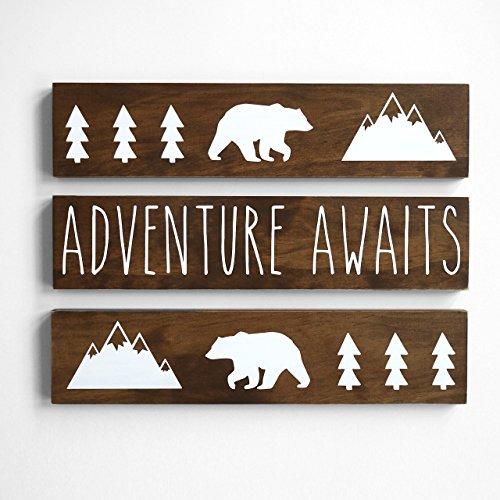 - Adventure Awaits, Nursery Decor Boy Woodland Rustic 3 piece set
