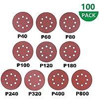 100 pcs Discos de Lija, 125mm Papeles