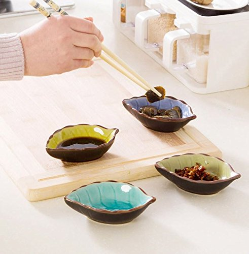 leoyoubei 2 oz ice crack glaze Ceramic pickles /Porcelain Dipping Bowls/ caviar / dessert / appetizer and other spices leaves style tableware 4.4x2.75''-4 pack (Light green) by leoyoubei (Image #5)