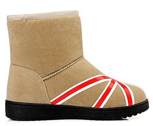 IDIFU Womens Warm Fleece Lined Flat Faux Suede Thick Snow Boots Ankle High Winter Booties Apricot jAqLgWt