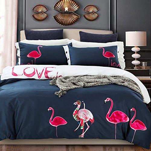 flamingo bedding sets flamingo embroidered duvet cover set deep ebay. Black Bedroom Furniture Sets. Home Design Ideas