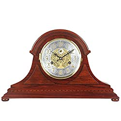 HENSE Chiming Regulator Mechanical Wind-Up Desk Table Mantel Clocks Living Room Decorative Rosewood Clocks HD325