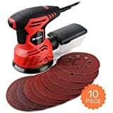 Hi-Spec Heavy Duty 240W Rotating Disc Palm Sander with Dust Collector & 10pc Sanding Pad Kit for Removing Paint, Varnish, Stains, Preparing Furniture, Polishing, Sanding Down & Finishing Wood