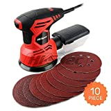 Hi-Spec 240W Rotating Disc Palm Sander with Dust Collector & 10pc Sanding Pad Kit for Removing Paint, Varnish, Stains, Preparing Furniture, Polishing, Sanding Down & Finishing Wood