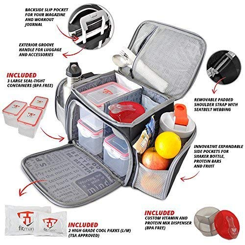 Fitmark Shield Midnight Meal Prep Insulated Bag with Portion Control Meal Containers, Reusable Ice Packs, and Vitamin Container by Fitmark (Image #1)