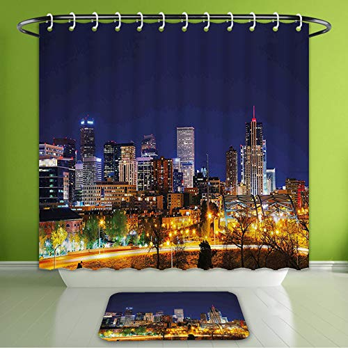 Waterproof Shower Curtain and Bath Rug Set Urban Downtown Colorado Night Buildings Skyscrapers American Architecture Scene Bath Curtain and Doormat Suit for Bathroom Extra Wide Size 78