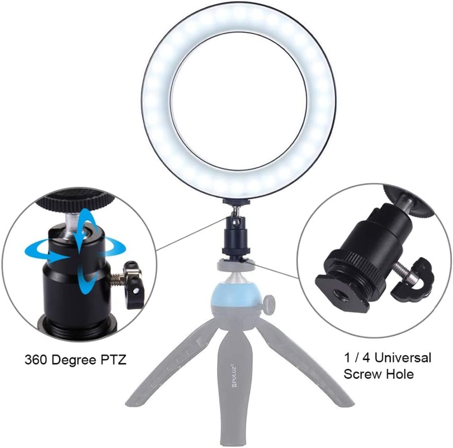 """for YouTube Video Desktop Stand Stream with 2m//6.6ft Long USB Controller Phone Clamp 10.2/"""" Ring Light 3 Lighting Modes Makeup Dimmable LED Desktop Lamp Selfie Ring Light"""