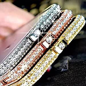 SHOUJIKE High Precision Metal Frame Bumper with Three Lines of Diamonds for Iphone 5/5S (Assorted Color) , Silver