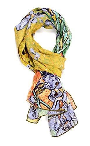Salutto Women 100% Silk Scarves Iris Van Gogh Painted Long Scarf
