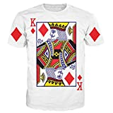 T-shirt 3D Print King of Diamonds Playing Card Short Sleeves Funny (M)