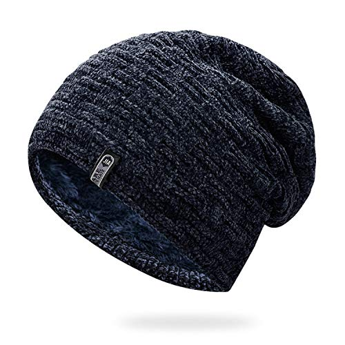 XINBONG Winter Hats for Women Men Beanies Knit Cap Bonnet Within Riga Velvet Black Casual Hat Male Outdoor Ski Hats ()