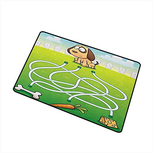 Kids Activity Front Door mat Carpet Cartoon Style Hungry Puppy Wants Bone Maze Game Design with Extra Pathways Machine Washable Door mat W19.7 x L31.5 Inch Multicolor