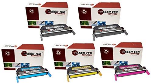 Laser Tek Services Compatible 644A Toner Cartridge Replacement for The HP Q6460A, Q6461A, Q6463A, Q6462A. (Black, Cyan, Magenta, Yellow, 5-Pack) -