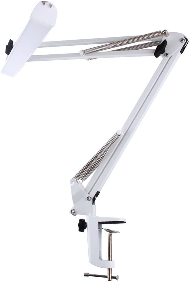 MIFXIN LED Clip-on Desk Lamp Table Lamp Book light, Portable and Flexible 3-Level Brightness USB Cable Included Travel Light, Eye-caring Long Arm Metal Folding Light Task Lighting White