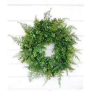 Boxwood Wreath, Fern Wreath, Fall Wreath, Year Round Wreath, Winter Wreath,Spring Wreath,Summer Wreath,Farmhouse Wreath, Home Decor, Housewarming Gift, Door Wreath, Fixer Upper Decor, Farmhouse Decor 53