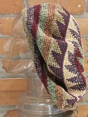 - EXTRA Large Tam Beret Slouchy Cap Hat Crochet Cotton Earthtone Pinwheel Maroon Green