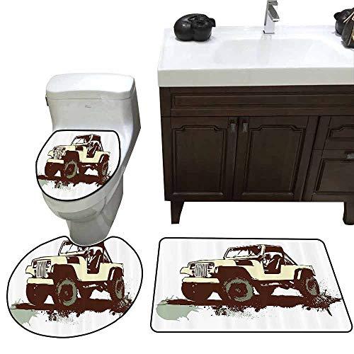 Elmos Closet Pop - 3 Piece Extended Bath mat Set Grunge Decor Retro Pop Art Vintage Military Car Jeep on The Road Adventure Graphic U-Shaped Toilet Mat Mint Brown Cream