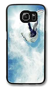 S6 Case, Snowboarding Rider Powder Jump Creativity Ultra Fit Black Bumper Shockproof Case For Galaxy S6 Customizable Hard PC Samsung Galaxy S6