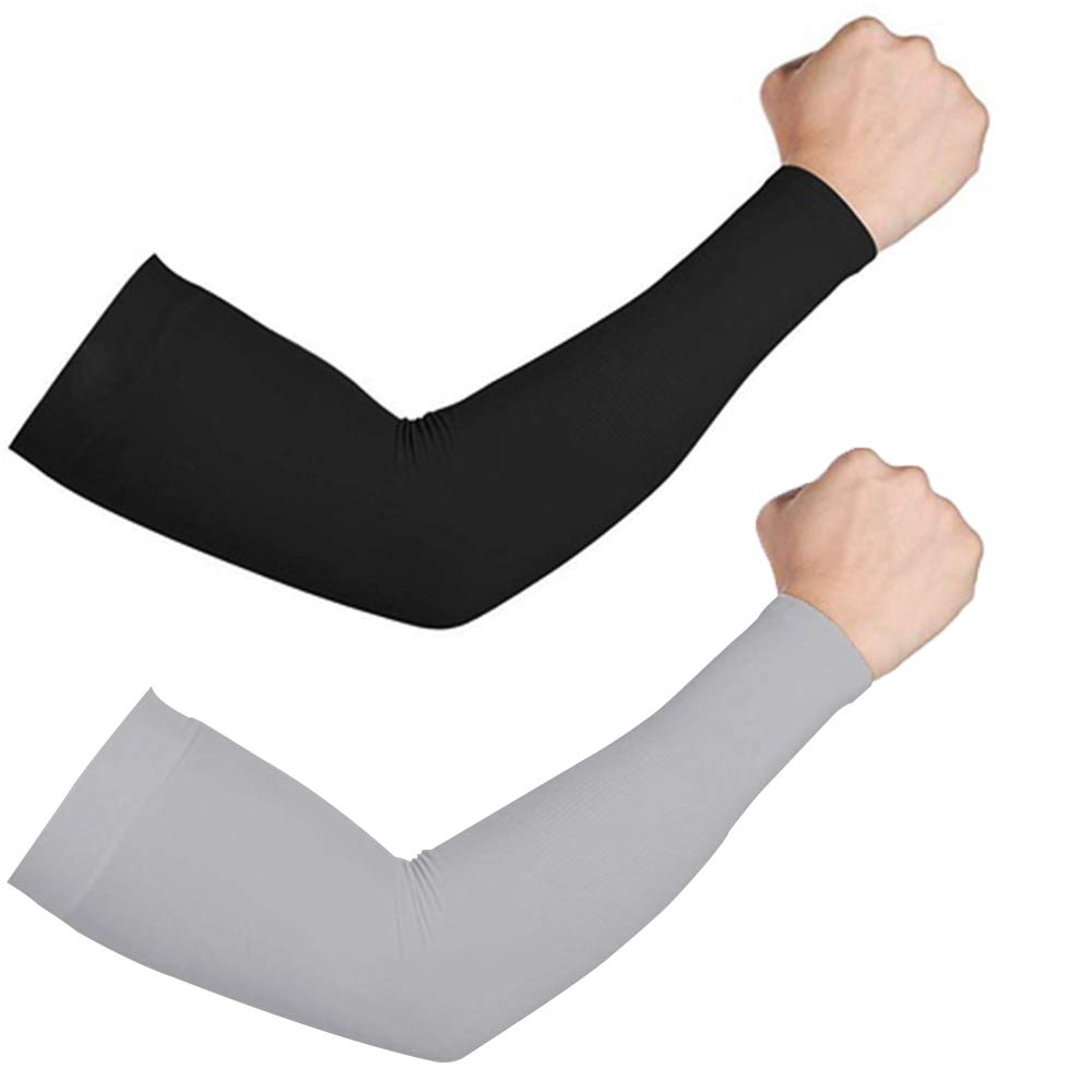 Top Souls 2 Pairs Arm Sleeves UV Sun Protection, Cooling Compression Arm Sleeves with Handcover for Men & Woman Stretch Sport Outdoor