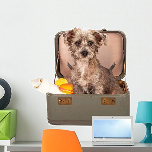 (Wallmonkeys Terrier Dog Suitcase Wall Decal Peel and Stick Animal Graphics (24 in H x 24 in W) WM371185)