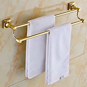 Sprinkle Wall Mount Lavatory Towel Racks Bath Shower Accessories Gold Plated Brass