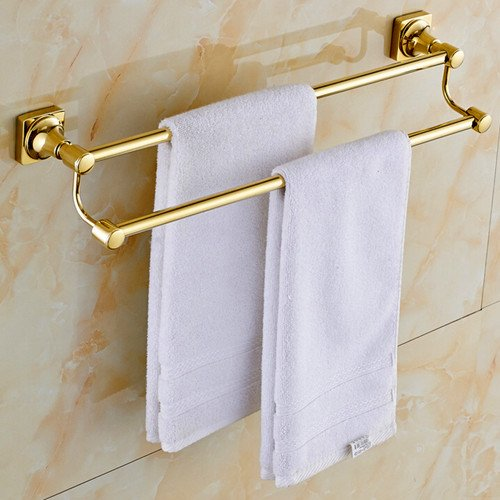 Gold Brass Ring Plated (Sprinkle Wall Mount Lavatory Towel Racks Bath Shower Accessories Gold-plated Brass Bathroom Towel Rack Golden Towel Bars and Holders Gold Luxury Free Standing Towel Bars)