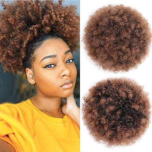 AISI QUEENS High puff Afro Ponytail Drawstring Short Kinky Curly Warp for African American Synthetic hair puff extensions with color ()