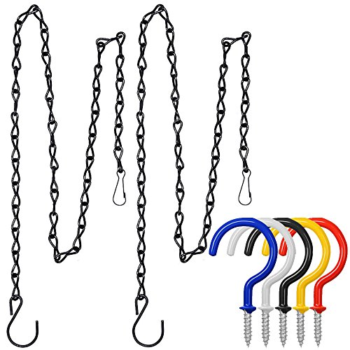 Hanging 3 Light Basket (FineGood 2 Pieces 35 Inch Hanging Chains with 5 Pcs Hooks, Metal Chain Hanger for Bird Feeders, Planters, Lanterns, Billboard, Flower Pot Garden Outdoor Use - Black)